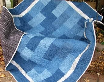 Quilt - Denim and Flannel Lap Quilt - Denim Gray Plaid Flannel Quilt