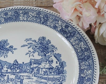 Vintage Homer Laughlin Blue and White Shakespeare Country Chop Plate Ironstone Platter Replacement China