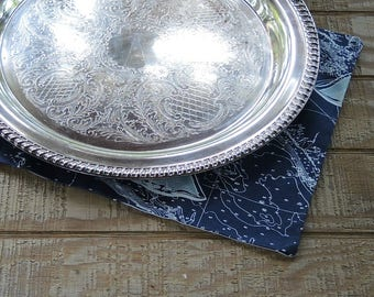 "Vintage Leonard 15"" Silverplate Tray Etched Floral Design Tray for Weddings Vintage Barware"