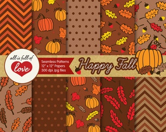 Thanksgiving Digital Paper Pack Fall Background Patterns Seamless Autumn Digital Scrapbook Paper Commercial Use Illustrations