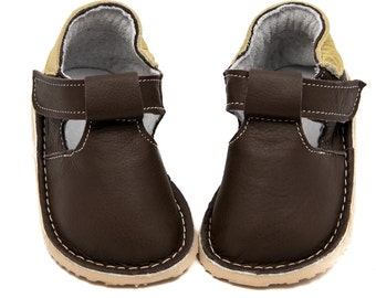 Dark brown Toddler Leather Shoes,leather lining,Vibram sole,velcro fastening,support barefoot walking,sizes EU16 to 24 - US2 to 7.5