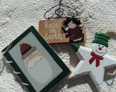 Three wooden ornaments for your Christmas tree