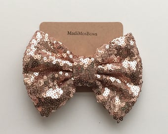 Sequin Bows 5 inches rose gold