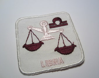 Vintage Libra Zodiac Embroidered Patch // Horoscope Embroidered Patch