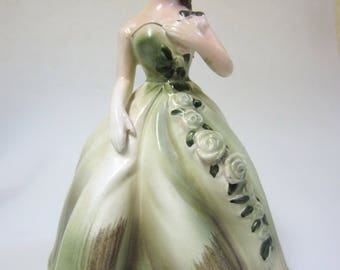 Antique Fancy Lady Planter // Vintage Green Lady Planter // Mid Century Ceramic // Retro Kitsch