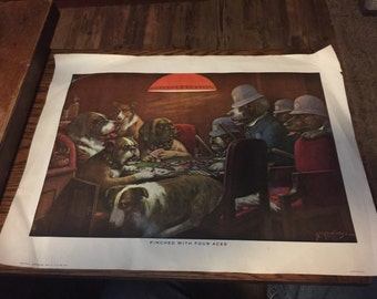 "Vintage Dogs Playing Poker Print - ""Pinched With 4 Aces"""