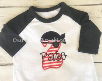 Pirate Birthday Shirt - Personalized Birthday - Personalized Pirate - Pirate Applique - Boy Pirate Shirt - First Birthday Pirates Shirt