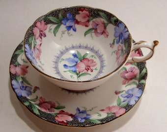 Paragon Tea Cup and Saucer Sweet Pea Pattern Fine Bone China Made in England