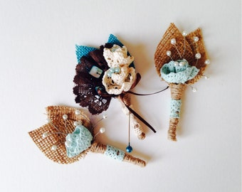 Ready to ship. Rustic Burlap Boutonnieres in Teal/Mint/Aquamarine/Turquoise Burlap/ Cream White Cotton Flowers and Brown Lace