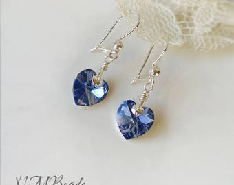 Delicate Blue Swarovski Crystal Heart Earrings Sterling Silver Handmade Locking Earwires Graduation Jewelry Young Girl Teenage Gift For Her