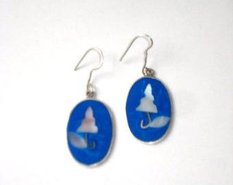 Vintage Alpaca Earrings Blue Enamel and Mother of Pearl - Pierced Dangle - Alpaca Silver 1980s