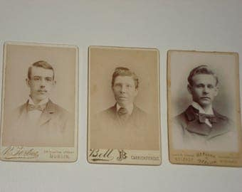Vintage Small Photograph Set - Young Men - Victorian 19th Century - Antique Retro Decor