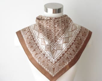 Vintage Square Brown and Cream Scarf - Bold Pattern -  Fall  Scarves - Womens Accessories 1970s