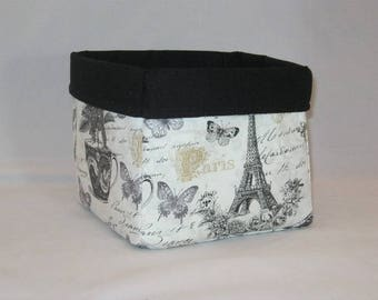 Black, White And Gold Paris Sketchbook Themed Fabric Basket For Storage Or Gift Giving