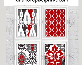 Wall Art Red Greys White Modern inspired Ikat Art Pictures Collection  -Set of (4) - 8x10 Prints -   (UNFRAMED)