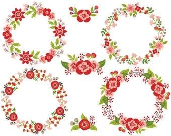 Floral Wreath Clipart - Digital Vector Flowers, Wedding, Circle, Floral Wreath Clip Art
