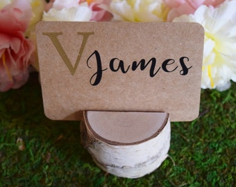 Set of 100 Birch Name Placeholder or Place Setting, Birch Name Badge, Birch Name Place Card Holder, Birch Placeholder, Place Card Setting
