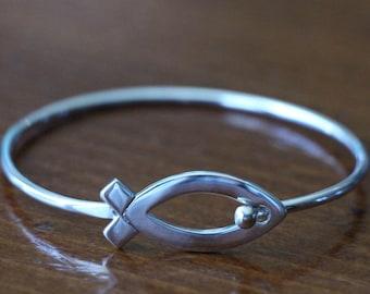 Christian Fish Bracelet- Jesus Ichthus Fish Bracelet- Religious Bangle Bracelet- Sterling Silver- Christmas Gift