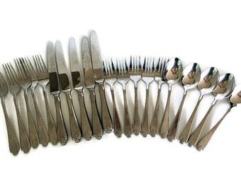 Vintage Stainless Steel Flatware by Rogers & Belk Fleur De Lis Pattern