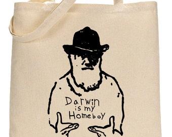 Science Shoulder Bag for Biology Majors, Charles Darwin Tote Bag Student Gift