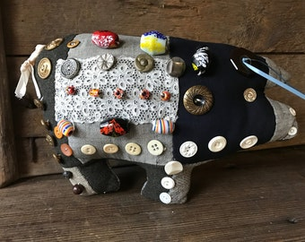 Handmade Patchwork Pig Pin Cushion and Button Collection, Cotton, Tweed, Lace, Sewing Notions