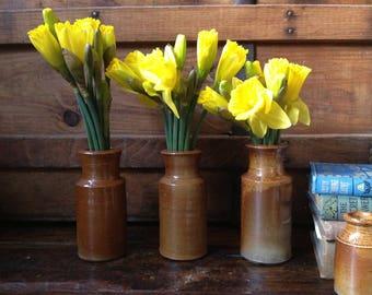 English Stoneware Ink Bottles, Flower Vase, Earthenware Pottery, 2 Available