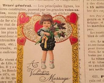 Vintage Valentine / German Embossed Die Cut Valentine Card 1940's Signed