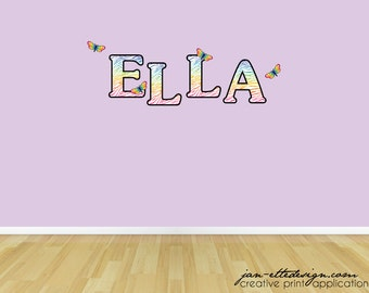 Rainbow Zebra Name Decals,Girl Rainbow Letters and Butterflies Wall Stickers