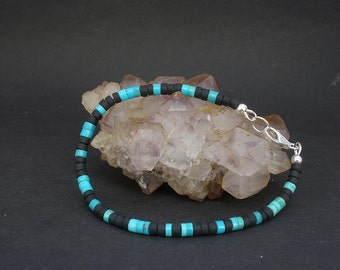Turquoise Men Bracelet, Genuine Blue Turquoise Heishi 4mm, Matted Black Obsidian Heishi 4mm, 925 Sterling Silver