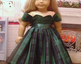 Green Velveteen and Taffeta Holiday Dress and Hair Bow for American Girl