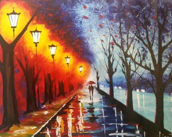 Original Oil Painting 28 x 20 - A Couple With Umbrella - Lanterns - Night Lights - Lake - Colorful Impasto Textured Palette Knife Canvas
