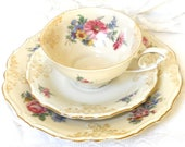antique teacup trio german porcelain teacup shabby chic multicolor flowers floral tea cup Schwarzenhammer tea cup  1