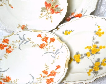 4 vintage breakfast plates mismatched salad plates floral breakfast plates floral side plates bridal shower tea party wedding orange plates