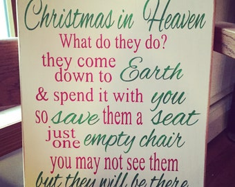 Christmas in Heaven Sign, In memory sign, Christmas Chair, In Loving Memory sign, Christmas In Heaven Poem, Lost Loved One Sign, Heaven sign