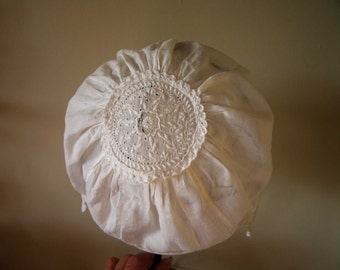 Antique Baby Cap Bonnet c.1850s approx Lovely White-work Crown - Christening - Infant- Doll.
