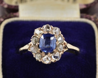 An authentic Victorian natural no heat Ceylon sapphire and diamond cluster ring Sold