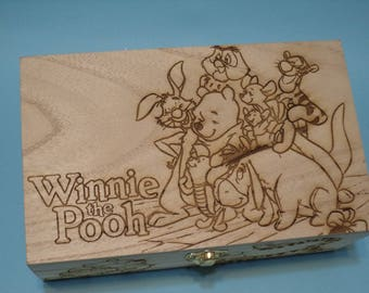 Winnie the Pooh and Friends Etched Wood Trinket Box