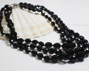 Multi Strand Vintage Black Beaded French Jet Necklace Graduated  Faceted Beads with Marcasite Silver Clasp