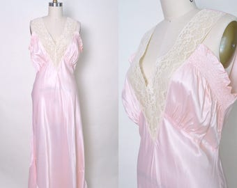 Vintage 1940s Nightgown 40s Pink NOS Satin Lace Gown Size Large