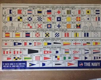 Vintage 1969 International Maritime Signal Alphabet US Navy & International Numeral  Alphabet, Morse Code , Navy Special Flags/Pennants