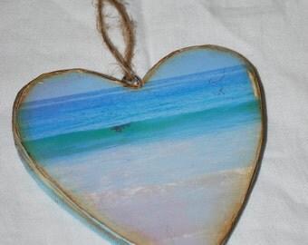 wood heart beach ornament, Laguna Beach photograph