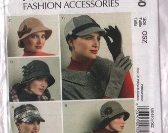McCalls, hat & gloves pattern, M6450 cloche, hat with brim, 5 styles, 2011