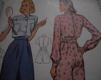 Vintage 1940's McCall 3577 Blouse Shirt, Trousers, Pajamas Sewing Pattern, Size 16 Bust 34