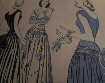 STUNNING Vintage 1940's Butterick 4411 Evening Gown Sewing Pattern, Size 14 Bust 32
