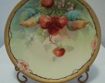 Antique Hand Painted Strawberry Plate Bavaria