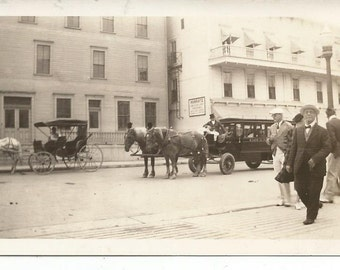 Vintage 1910's Photograph Street Scene Horses and Carriages Black and White