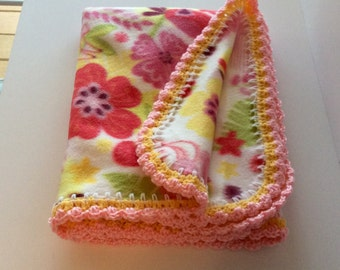Soft and Cozy Baby Pink and Yellow Fleece Crib Blanket with Crochet Trim