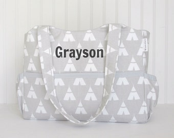 Personalized Diaper Bag in Gray TeePee and Silver Or Choose Your Own for Boy or Girl