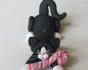 Black and White Tuxedo Cat Christmas Ornament Polymer Clay
