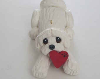 Maltese Dog Valentines Christmas Ornament Polymer Clay